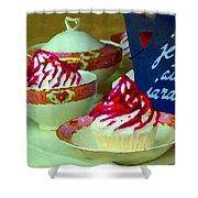 Cupcakes And Tea Je Suis Au Jardin Coffee Shop City Scene Cafe Montreal Food  Art Carole Spandau Shower Curtain