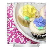 Cupcakes On A Plate Shower Curtain