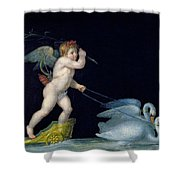 Cupid Being Led By A Pair Of Swans Shower Curtain