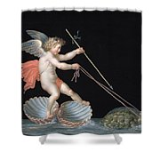 Cupid Being Led By Tortoises Shower Curtain