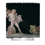Cupid Led By Butterflies Shower Curtain