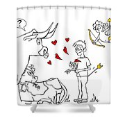 Cupid Valentines Shower Curtain