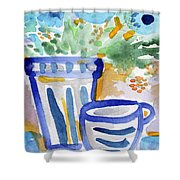Cups And Flowers-  Watercolor Floral Painting Shower Curtain