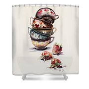 Cups And Strawberries Shower Curtain