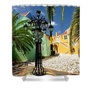 Curacao Colorful Architecture Shower Curtain