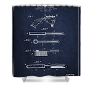 Curling Tongs Patent From 1889 - Navy Blue Shower Curtain