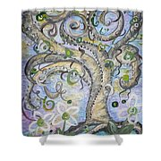 Curly Tree In Fantasy Land Shower Curtain