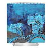 Curly Trees In Blu Shower Curtain