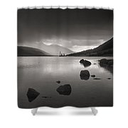 Curve Of Rocks In Monochrome At Loch Etive Shower Curtain