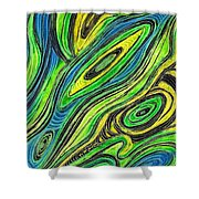 Curved Lines 5 Shower Curtain by Sarah Loft