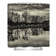 Cushwa Basin C And O Canal Black And White Shower Curtain
