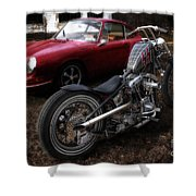 Custom Bike And Porsche Shower Curtain