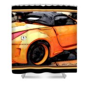 Custom Orange Sports Car Shower Curtain by Danielle  Parent