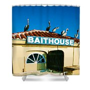 Customers At The Baitshop Shower Curtain