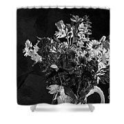 Cut Flowers In Monochrome Shower Curtain