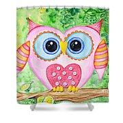 Cute As A Button Owl Shower Curtain