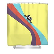 Cute Bug Bites Candy Colored Stripes Shower Curtain