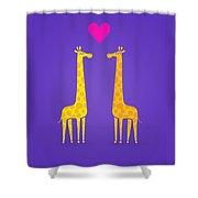 Cute Cartoon Giraffe Couple In Love Purple Edition Shower Curtain