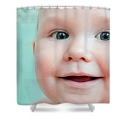 Cute Happy Baby Smiling In A Bathroom Shower Curtain