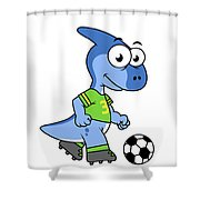 Cute Illustration Of A Parasaurolophus Shower Curtain