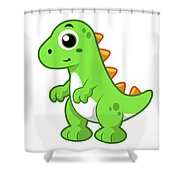 Cute Illustration Of Tyrannosaurus Rex Shower Curtain