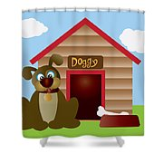 Cute Puppy Dog With Dog House Illustration Shower Curtain