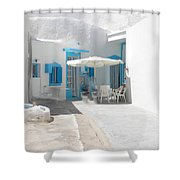 Cute Santorini Island Hause  Shower Curtain