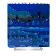 Cutout Art Blue Landscape Shower Curtain