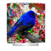 Cutout Layer Art Animal Portrait Bird Blue Shower Curtain