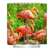 Cutout Layer Art Animal Portrait Flamingo Shower Curtain