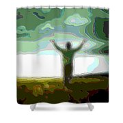 Cutout Layer Art Uplifted Shower Curtain