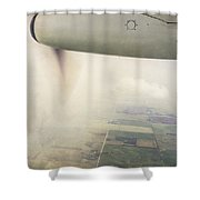 Cutting Through The Fog With Turboprop Over Alberta Shower Curtain