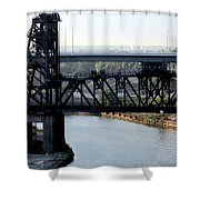 Cuyahoga River Cleveland Flats Shower Curtain
