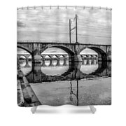 Cv - Susquehanna River Bridge Harrisburg  Pennsylvania In Black  Shower Curtain