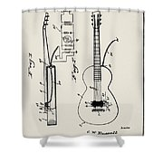 Cw Russell Acoustic Electric Guitar Patent 1939 Shower Curtain