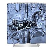 Cyan Horse Shower Curtain
