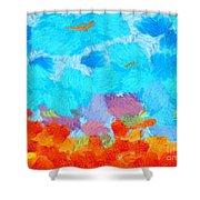 Cyan Landscape Shower Curtain by Pixel Chimp