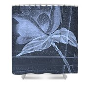 Cyan Negative Wood Flower Shower Curtain