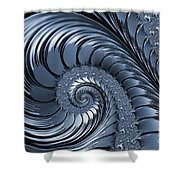 Cyan Scrolls Abstract Shower Curtain
