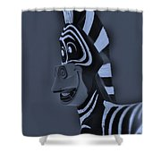 Bluegray Zebra Shower Curtain