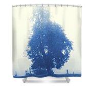 Cyanotype Cemetery Shower Curtain