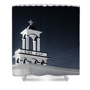 Cyclades Greece - Andros Island Church Shower Curtain