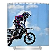 Cycle In The Air Shower Curtain