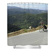Cycling In Greek Mountains Shower Curtain