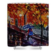 Cycling In The Rain Shower Curtain