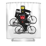 Cycling Recycle Bins Shower Curtain