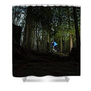 Cyclist In Mountain Forest Shower Curtain
