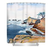 Cypress And Seagulls Shower Curtain