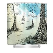 Cypress In Ink Shower Curtain