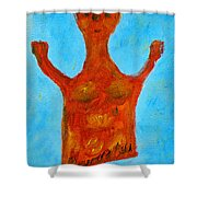Cyprus Goddess With The Lifted Hands Shower Curtain by Augusta Stylianou